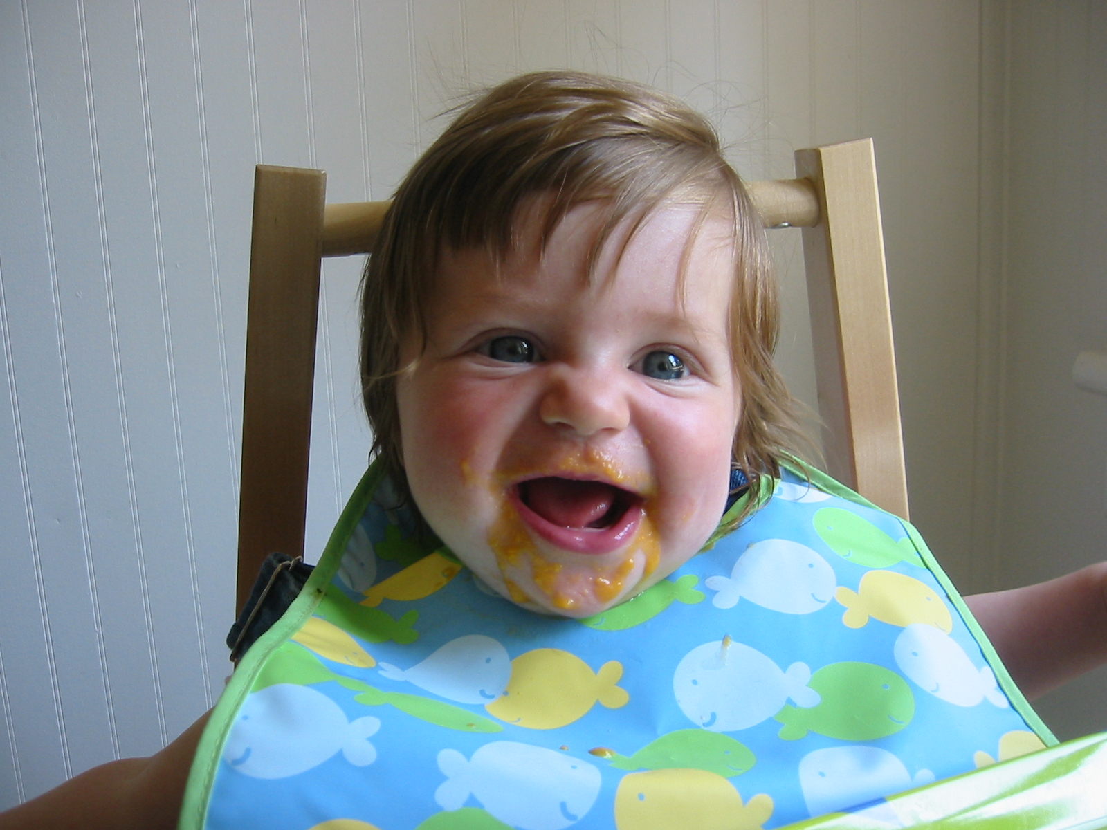 Baby enjoying homemade baby food