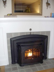 empress pellet stove insert in old-fashioned fireplace