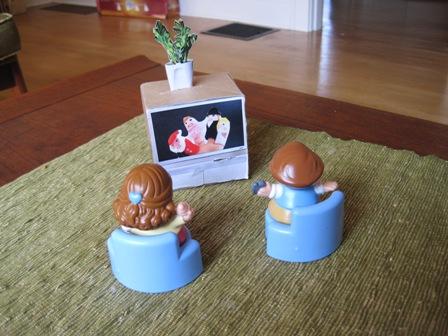 DIY doll television set from a cardboard box