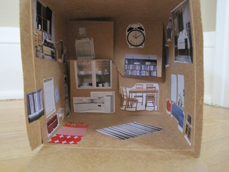 DIY dollhouse interior with catalog cut-outs
