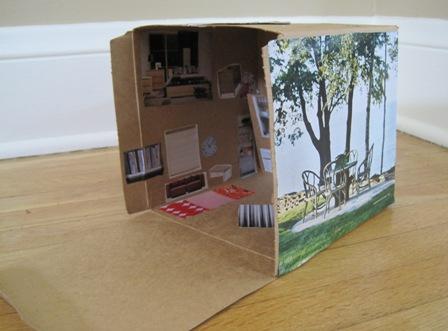 DIY dollhouse out of a cardboard box
