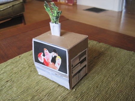 homemade doll television set from recycled materials