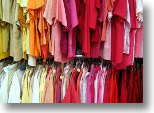 Thrift store shopping to save money on clothing
