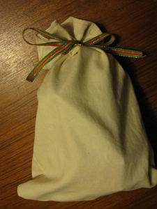 Finished homemade fabric gift bag