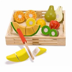 Melissa and Doug deluxe wooden cutting fruit crate