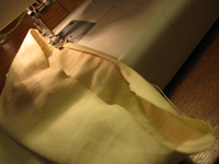 Rolled hem for homemade gift bags