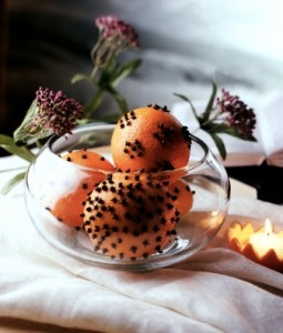clove-studded orange in bowl