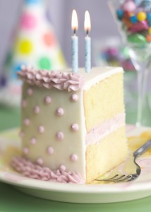 second birthday cake with two candles