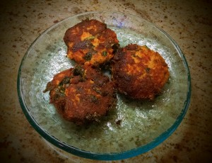 Salmon Cakes with Kale